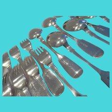 Gorgeous 1895 Russian 875 silver (84 zolotnik) 12 dinner forks 12 soup spoons Odessa city 1571gr 55,4oz