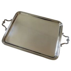 Vintage French silver-plated large rectangular tea serving tray Christofle marly pattern rococo st
