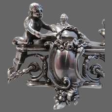 Gorgeous late 19th c Austrian Hungary Empire silver inkwell Louis XVI st Cupid