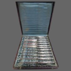 Magnificent 1880 french sterling silver 12 fruit knives rococo st cherubs