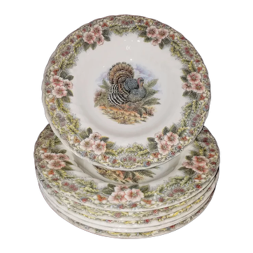 6 Rimmed Soup Bowls Thanksgiving Design By Churchill