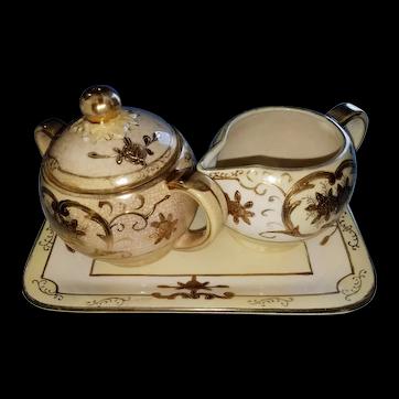 Distinctive 1900-20 Moriyama Mori-Machi Japanese Sugar, Creamer Set & Tray