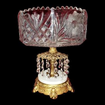 Vintage Hollywood Regency West Germany Leaded Cut Crystal Compote Dish
