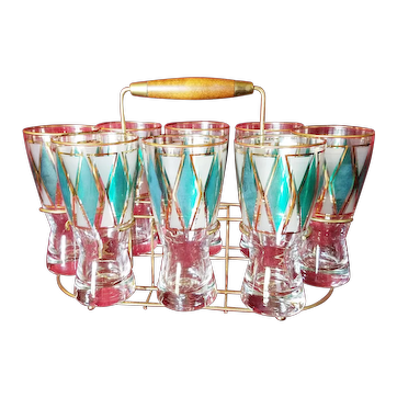 Rare Libbey '61 8 Pilsners in Emerald Baquette With Walnut Caddy Set