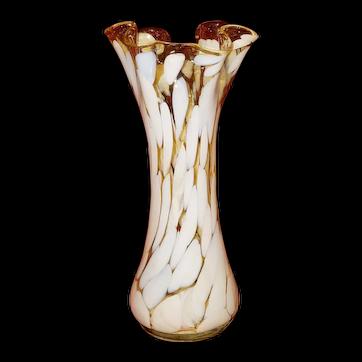 Murano Tall Splatter Hand Blown Vase
