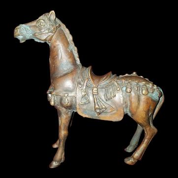 Unusual 1940s Bronze Tang Dynasty Ceremonial War Horse Figurine