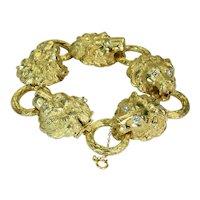 Lions Head Diamond 18K Solid Yellow Gold Bracelet 7 Inch Vintage