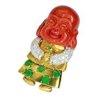 Coral Diamond Jadeite Emerald Happy Buddha 14k Yellow Gold Brooch Pin Vintage