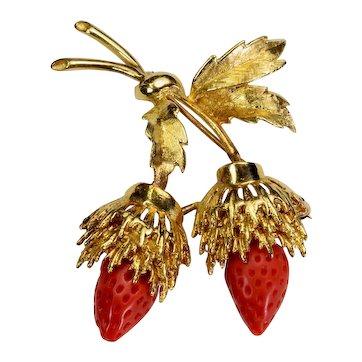 Coral 14k gold Strawberry Brooch Vintage Estate