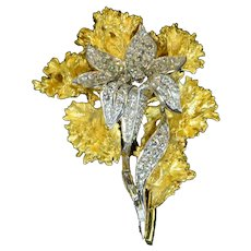 Two Piece 4.06ct Diamond 18k Yellow Gold Flower Brooch Vintage