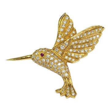 Ruby Diamond 18k Gold Hummingbird Brooch Vintage Estate