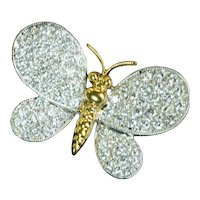 1.08ct Diamond 18k Yellow Gold Butterfly Brooch Vintage