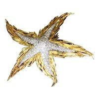 3CT Diamond 18k Yellow Gold Starfish Brooch Vintage