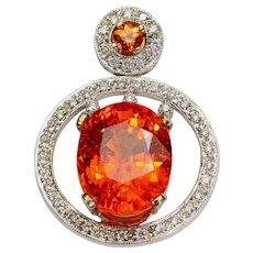 15ct Spessartite Diamond 18k Gold Pendant Vintage Estate