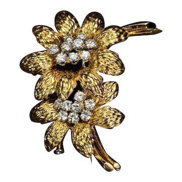 GUBELIN Diamond 18k Gold Flower Brooch Vintage Estate