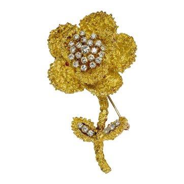 Hammerman Brothers Diamond 18k Gold Flower Brooch Vintage Estate