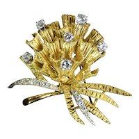 Retro Ruby Diamond 18k Yellow Gold Flower Bouquet Brooch Vintage