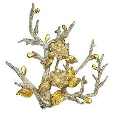 SATSKY Diamond 18k Solid Gold Flowers Branch Brooch Vintage