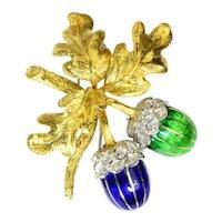 Italian Diamond Enamel 18k Gold Acorn Leaf Brooch Vintage