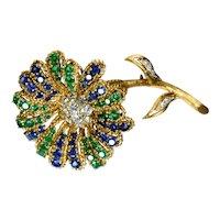 Italian Diamond Sapphire Emerald 18k Yellow Gold Flower Brooch Vintage