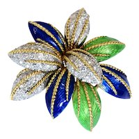 Diamond Enamel 18k Gold Floral Brooch Vintage