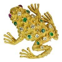 Ruby emerald Diamond 18k Solid Gold Frog Brooch Vintage