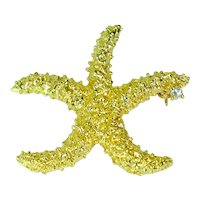 18k Yellow Gold Diamond Starfish Brooch Vintage