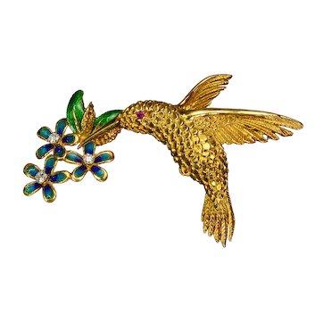 Diamond Enamel 18k Gold Hummingbird Brooch Vintage Estate