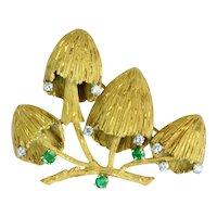 Emerald Diamond 18k Yellow Gold Mushroom Brooch Vintage