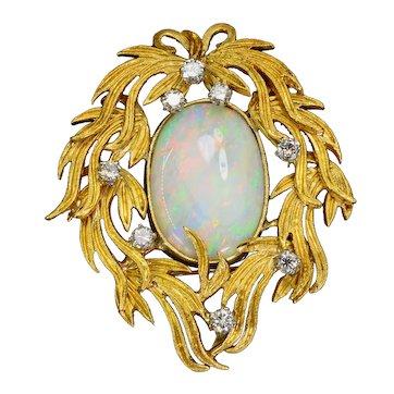 14ct Australian Precious Opal Diamond 18k Gold Mirror Pendant Brooch Vintage Estate