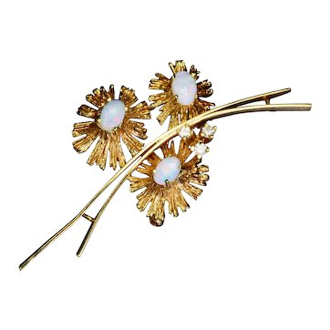 Diamond Opal 18k Gold Flower Brooch Vintage Estate