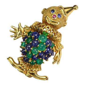 Sapphire Emerald 18k Gold Clown Brooch Vintage Estate
