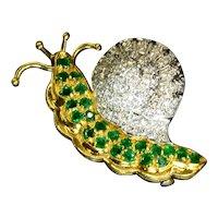 Emerald Diamond 18k Yellow Gold Snail Brooch Vintage