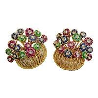 Ruby Emerald Sapphire Diamond 18k Solid Gold Tiffany & Co Flower Brooch Vintage Set