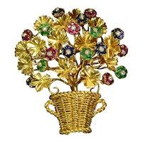 Ruby Emerald Sapphire Diamond 18k Solid Gold Tiffany & Co Flower Brooch Vintage