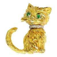 Tiffany Emerald Diamond 18k Yellow Gold Cat Brooch Vintage
