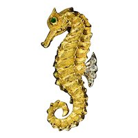 Tiffany & Co Emerald Diamond 18k Yellow Gold Seahorse Brooch Vintage