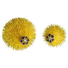 Tiffany & Co Diamond Sapphire Diamond 18k Solid Gold Sea Urchin Brooch Vintage Set Pair