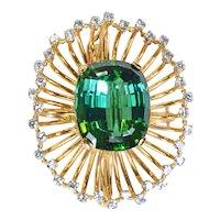 Lagoon Tourmaline Diamond 18k Yellow Gold Starburst Brooch Vintage