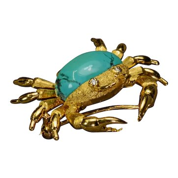 Turquoise Diamond 18k Gold Crab Brooch Vintage Estate