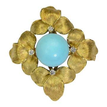 Diamond Turquoise 18k Gold Flower Brooch Vintage Estate