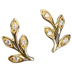 14k Solid Yellow Gold Diamond Olive Leaf Branch Ear Studs Posts PAIR