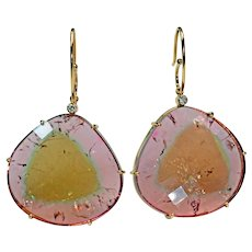 18K Solid Yellow Gold Diamond Accent 95CT Watermelon Tourmaline Slice Earrings