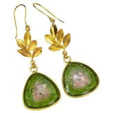 18K Solid Yellow Gold 20CT Watermelon Tourmaline Slice Earrings