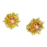 Tiffany & Co Ruby Diamond 18k Yellow Gold Earrings Vintage
