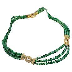 Italian 70.37 grams Emerald Rondelle Bead Diamond 18k Solid gold Multi-Strand Necklace Vintage