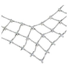 Platinum White Diamond Bezel Necklace Vintage 16 inch Vintage