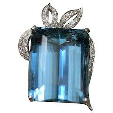 52.82CT Santa Maria Aquamarine Diamond Pendant Platinum 14k White Gold Vintage