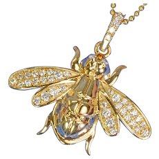 25mm 14K Yellow Gold Diamond Large Honey Bee Bumble Bee Charm Necklace Pendant