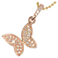 13.9x15.8mm 14K Solid Rose Gold Diamond Beautiful Butterfly Charm Necklace Pendant